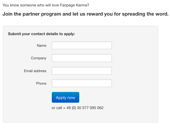 Fanpage Karma Partner Program application form
